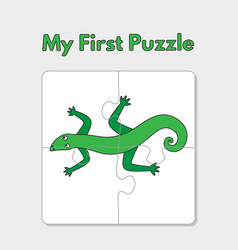 cartoon lizard puzzle template for children vector image
