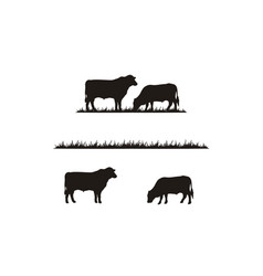Cattle angus cow grass livestock farm logo vector