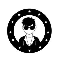 Circular frame with silhouette rock star man vector