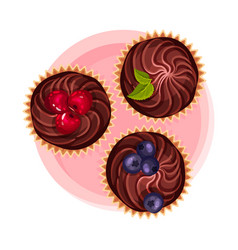 Cupcake or muffin with chocolate as dessert served vector