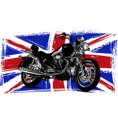 custom motorbike with great britain flag in vector image