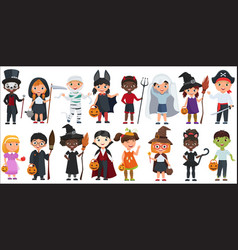cute halloween little kids set vector image