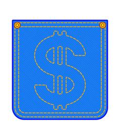 Denim pocket with dollar symbol vector