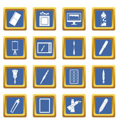 Design and drawing tools icons set blue vector