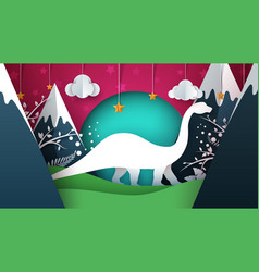 dino dinosaur cartoon paper vector image