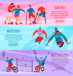 Disabled people sport flat banner set vector