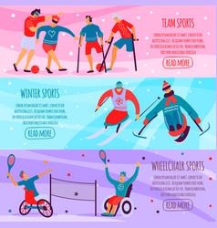 disabled people sport flat banner set vector image