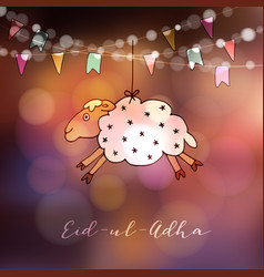 Eid-ul-adha greeting card with hand drawn sheep vector