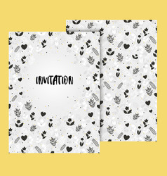 elegant invitation card with floral ornament vector image