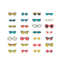 Fashion set with colorful sunglasses isolated on vector