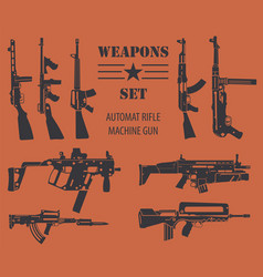 Firearm set automatic rifle machine gun flat vector