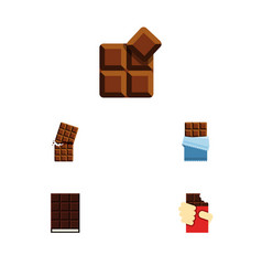 Flat icon sweet set of cocoa shaped box dessert vector