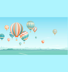 flying hot air balloons in sky vector image