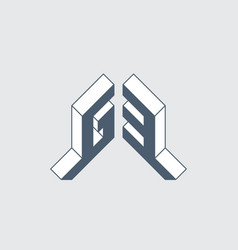 G3 - monogram or logotype isometric 3d font vector