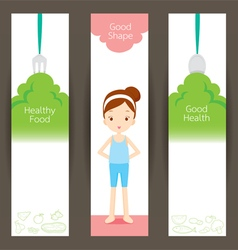 Good shape girl and clean foods banner concept vector