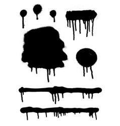 Graffiti spray drips banner set abstract graphic vector