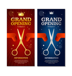 Grand opening banners invitation set vector