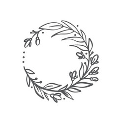 hand drawn branches wreath floral design vector image