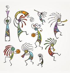 Hand drawn kokopelli figures stylized mythical vector