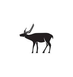 Head deer animals logo black silhouete icons vector
