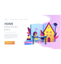 Home schooling concept landing page vector