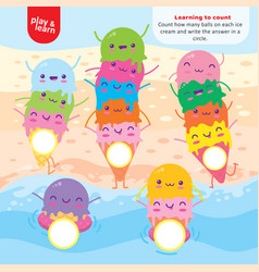 Learning to count ice cream balls art kid game vector