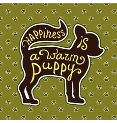 Lettering card with cute puppy vector image