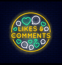 Likes and comments neon banner vector