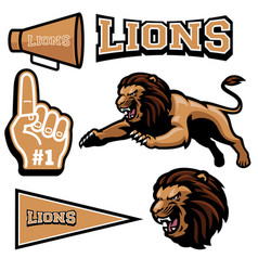 Lion jumping mascot vector