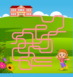 Maze game template with girl go to school vector