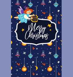 merry christmas celebration angel flying vector image