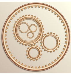 Metallic copper gear wheels vector