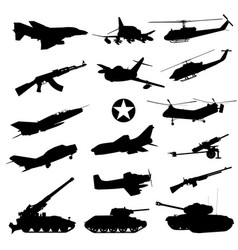 military silhouettes set vector image