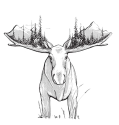 Moose Forest and Mountains vector