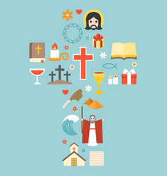moses jesus and christian icon vector image