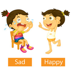Opposite adjectives words with happy and sad vector