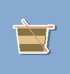Paper sticker on stylish background style tea cup vector