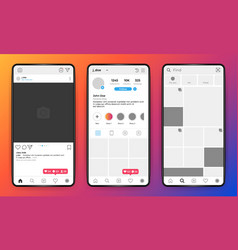 Phone mockup social network mobile interface on vector