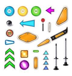 Pinball parts realistic set vector