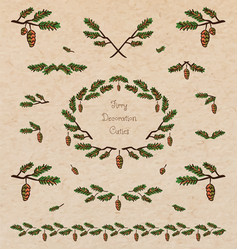 Pine tree decorative elements vector