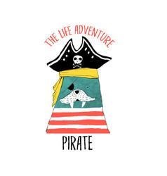 pirate print design with slogan vector image