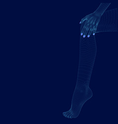 Polygonal leg and hand a girl wireframe legs vector