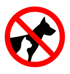 Prohibition sign stop pet dog and cat simple vector