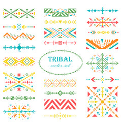 rainbow set of design elements in tribal style vector image