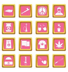 rastafarian icons pink vector image