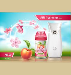 Realistic air freshener spray ad mock up vector