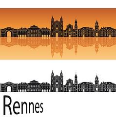 Rennes skyline in orange background vector image vector image