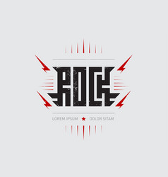 rock - music poster with stylized inscription red vector image