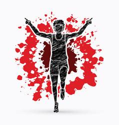 Runner jogger athletic running the winner vector