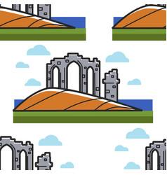 Scottish temple ruins ancient architecture vector